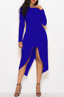 Blue Fashion Casual Solid Split Joint Asymmetrical O Neck Long Sleeve Dresses