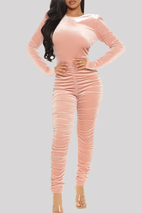 Pink Sexy Casual Solid Backless Fold O Neck Skinny Jumpsuits