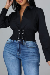 Black Fashion Casual Solid Bandage Split Joint Turndown Collar Tops