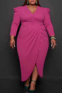 Rose Red Casual Solid Split Joint Fold Asymmetrical V Neck Princess Plus Size Dresses