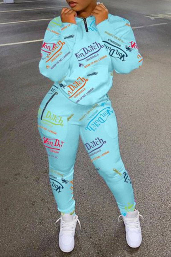 Lake Blue Casual Print Split Joint Zipper Collar Long Sleeve Two Pieces