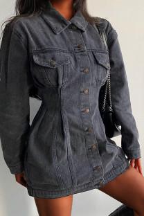 Black Fashion Casual Solid Split Joint Turndown Collar Long Sleeve Regular Denim Dresses