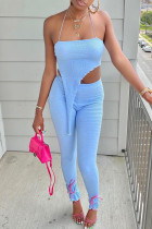 Sky Blue Sexy Solid Split Joint Asymmetrical Strapless Long Sleeve Two Pieces