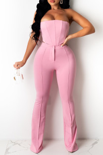 Pink Fashion Sexy Solid Backless Strapless Sleeveless Two Pieces
