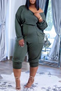 Olive Green Fashion Casual Solid Fold Off the Shoulder Regular Jumpsuits