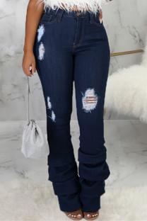 Dark Blue Fashion Casual Solid Ripped Fold High Waist Regular Denim Jeans
