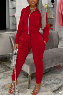 Red Casual Solid Split Joint Pocket Zipper Hooded Collar Long Sleeve Two Pieces