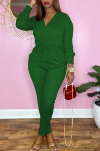 Green Casual Solid Split Joint V Neck Regular Jumpsuits