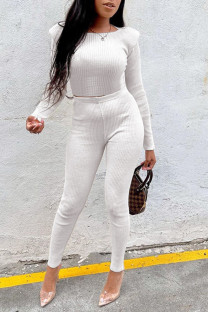 White Casual Solid Split Joint O Neck Long Sleeve Two Pieces