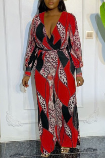 Red Casual Print Split Joint V Neck Plus Size Jumpsuits