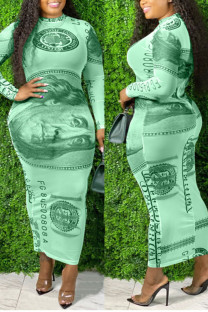 Green Sexy Print Split Joint See-through O Neck One Step Skirt Plus Size Dresses