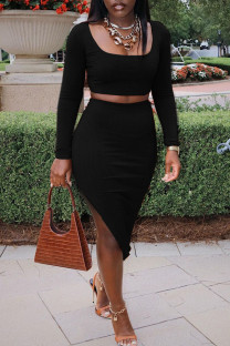 Black Sexy Solid Split Joint Slit U Neck Long Sleeve Two Pieces