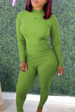 Fluorescent Green Casual Solid Split Joint O Neck Long Sleeve Two Pieces