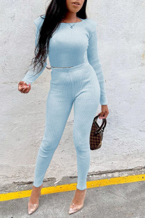 Light Blue Casual Solid Split Joint O Neck Long Sleeve Two Pieces
