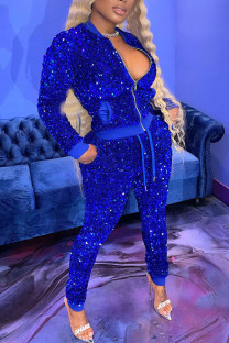 Peacock Blue Sexy Solid Split Joint  Sequins Zipper Collar Long Sleeve Two Pieces