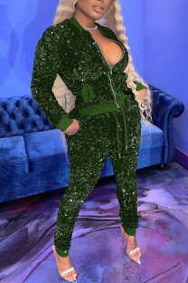 Ink Green Sexy Solid Split Joint  Sequins Zipper Collar Long Sleeve Two Pieces