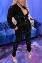Black Sexy Solid Split Joint  Sequins Zipper Collar Long Sleeve Two Pieces