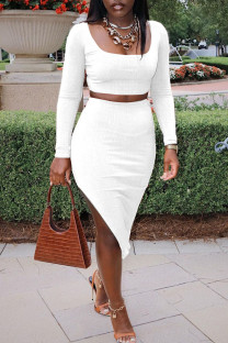 White Sexy Solid Split Joint Slit U Neck Long Sleeve Two Pieces