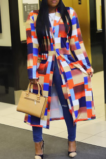 Orange Red Casual Print Split Joint Buttons Turn-back Collar Plus Size Overcoat