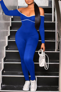 Blue Sexy Solid Split Joint Frenulum Backless Off the Shoulder Skinny Jumpsuits
