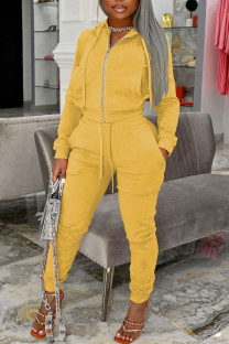 Yellow Casual Solid Split Joint Pocket Zipper Hooded Collar Long Sleeve Two Pieces