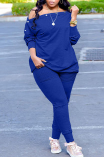 Blue Casual Solid Split Joint Buttons Fold Off the Shoulder Long Sleeve Two Pieces