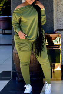 Army Green Casual Solid Split Joint Buttons Fold Off the Shoulder Long Sleeve Two Pieces
