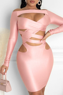 Light Pink Sexy Solid Hollowed Out Off the Shoulder Pencil Skirt Dresses
