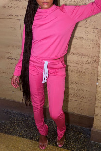Pink Casual Print Split Joint Slit O Neck Long Sleeve Two Pieces