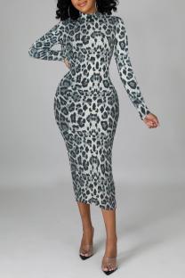 Grey Sexy Leopard Split Joint Half A Turtleneck Pencil Skirt Dresses