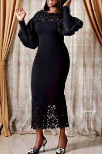 Black Fashion Solid Hollowed Out Split Joint O Neck Long Sleeve Dresses