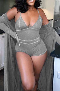 Grey Sexy Solid Split Joint V Neck Long Sleeve Two Pieces