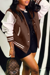 Brown Casual Solid Split Joint Buckle Hooded Collar Outerwear