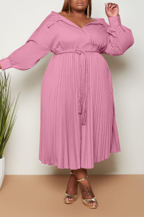 Pink Casual Sweet Solid Bandage Split Joint Fold Turndown Collar A Line Plus Size Dresses