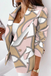 Pink Casual Print Split Joint Turn-back Collar Outerwear