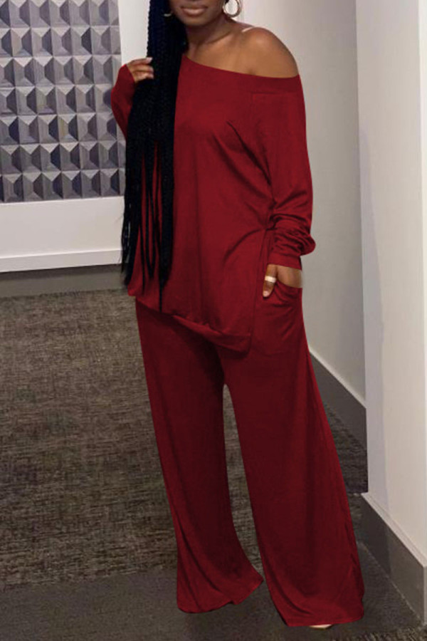 Red Casual Solid Split Joint Slit Off the Shoulder Plus Size Two Pieces