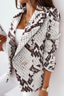 White Casual Print Split Joint Turn-back Collar Outerwear