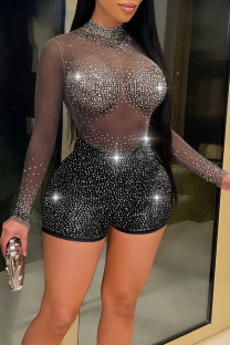 Black Sexy Zipper See-through Mesh Hot Drill O Neck Skinny Jumpsuits