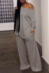 Grey Casual Solid Split Joint Slit Off the Shoulder Plus Size Two Pieces