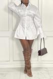White Casual Solid Split Joint Turndown Collar Shirt Dress Dresses