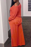 Tangerine Red Casual Solid Split Joint Slit Off the Shoulder Plus Size Two Pieces