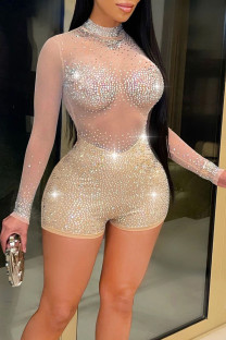 Apricot Sexy Zipper See-through Mesh Hot Drill O Neck Skinny Jumpsuits