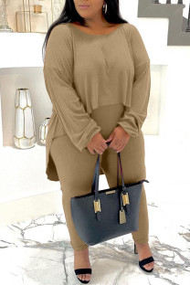 Khaki Casual Solid Split Joint O Neck Plus Size Two Pieces