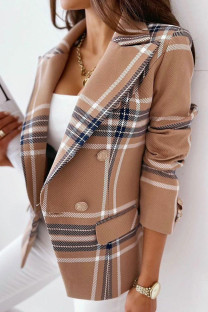 Brown Casual Print Split Joint Turn-back Collar Outerwear