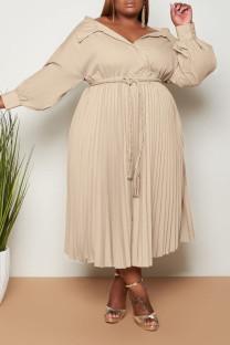 Khaki Casual Sweet Solid Bandage Split Joint Fold Turndown Collar A Line Plus Size Dresses
