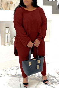 Burgundy Casual Solid Split Joint O Neck Plus Size Two Pieces