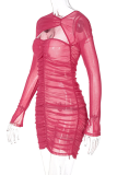 Rose Red Sexy Solid Mesh O Neck Pencil Skirt Dresses