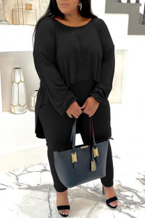 Black Casual Solid Split Joint O Neck Plus Size Two Pieces