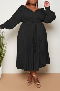 Black Casual Sweet Solid Bandage Split Joint Fold Turndown Collar A Line Plus Size Dresses