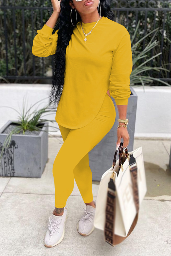 Yellow Casual Solid Split Joint O Neck Long Sleeve Two Pieces